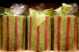Sparkling red and green pillar candles by RAZ $15.95 small, $18.95 large